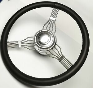 """15"""" Banjo Style Steering Wheel in Black Leather with Alum Adapter & Horn Button"""