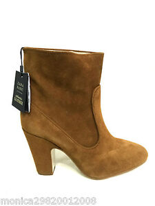ZARA BROWN LEATHER ANKLE BOOTS SIZE UK7 EUR40 US9