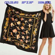 100% Pure Mulberry Silk Women Large  Scarf Shawl Animal Print Style 50'' X 50''