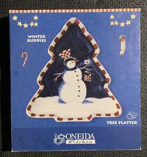 Oneida Kitchen Winter Buddies Christmas Snowman Tree Platter NIB Opened