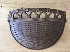 Vintage HOMCO Syroco Wall Decor Pocket Planter Wicker Cottage Shabby 1978 Chic
