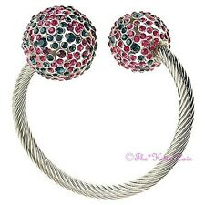 DESIGNER Silver Catwalk Torque Bracelet Bangle W/ Teal & Pink Swarovski Crystals