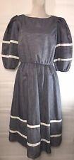 Vintage Light Blue Jean Short Poofy Sleeve Dress Women's Size 12 White Stripes