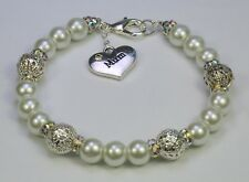 White glass faux pearl bead bracelet, silver heart Mum charm, silver filigree