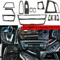 13pcs Car Real Carbon Fiber Interior Trim Decor Cover For BMW 3/4 Series F30 F34
