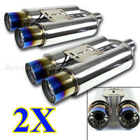 FOR JPN CAR!2X USA N1 STYLE TRACK DEEP TONE RACE DUAL EXHAUST MUFFLER +BURNT TIP