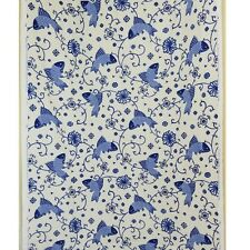 "Lee Jofa Fabric ""Oriental Fishes"" Blue Cream Modern Chinoiserie Linen 54""x78"""
