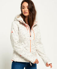 New Womens Superdry Hooded Sherpa SD-Windtrekker Jacket Heather Grey Slub