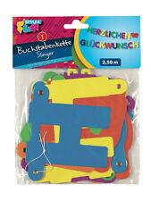 Buchstaben Girlande Herzlichen Glückwunsch 2,50m farbig Geburtstagsgirlande