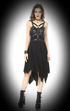 New Black Gothic PVC Straps Buckle Empire Line Hanky Hem Dress size 3XL 16 18 20