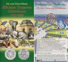 Österreich 5 EURO Silbermünze 2002 ST, Tiergarten im orig. Blister, Austria