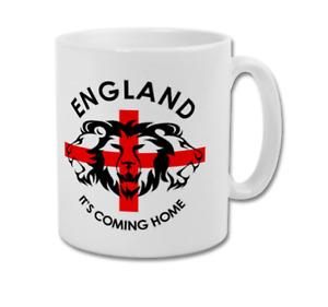 ENGLAND IT'S COMING HOME Three Lions St. George's Cross Flag Coffee Mug Tea Cup