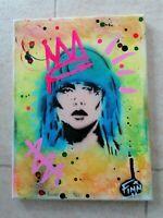 Blondie Debbie Harry small canvas 1/1 Original Art Stencil Graffiti Spray Paint