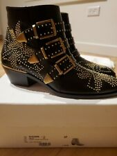 chloe susanna boots size 37 black leather with gold hardware retail $1495