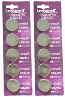 10 pcs CR2450 ECR 2450 3v LITHIUM Coin Cell Battery Loopacell USA Fast Ship
