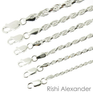 925 Sterling Silver Diamond Cut Rope Chain Bracelet .925 Italy All Sizes