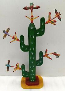 HUMMING BIRDS  w/ FLOWERING CACTUS= HAND CARVED = FOLK ART