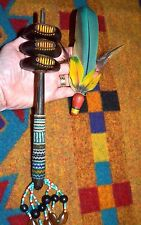 Handmade Colombian Tribal Ayahuasca Medicine Rattle Peyote Stitch Macaw Feathers