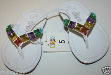 Circo Girls Dacri White Flip Flops with Multi Color Gems Stones Size 5 NWT