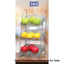 Three Tier Mesh Basket Countertop Display in Silver - 9 W x 7 D x 19.5 H Inches
