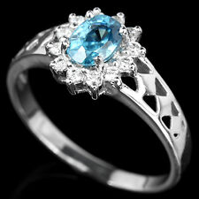 Natural SEAFOAM BLUE ZIRCON & White Cubic Zirconia 925 STERLING SILVER RING S7.0