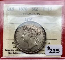 1870 Canada Silver Half Dollar 50 Cent Coin - Key Date - Fine 15 - First Year!