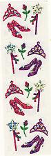 Mrs. Grossman's Stickers - Sparkle Princess Gear - Wand, Tiara, Heels - 3 Strips