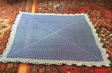 Nice Handmade Handcrafted Crochet Afghan Throw Blanket ~  Shades of blue 60""