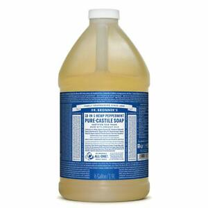 Dr. Bronner's Pure-Castile Liquid Soap - Peppermint Hemp 64oz (0.5 Gallon) NEW