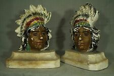vintage old Chalkware Indian Chief Head  feather headdress Native bookends