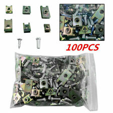 100 Auto Fasteners Car Body Door Panel Trim Fixed Screw U Type Gasket Clips