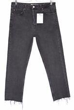 Topshop Tall STRAIGHT LEG High Waisted Black RAW HEM Jeans Size 12 W30 L36