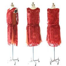 Vintage 20s orange SILK  velvet Art deco Flapper drop waist cocktail party dress