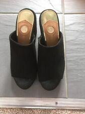 BNWT Ladies Womens Open Toe Slip On Black Suede Shoes Size UK 3/Euro 36