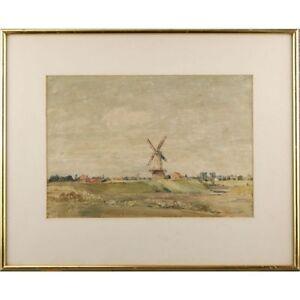 Original Signed Norfolk Broads Windmill Landscape Watercolour Painting 43 x 53cm