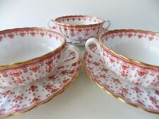 THREE SPODE FLEUR DE LIS CREAM SOUP BOWLS WITH SAUCERS RED FLEUR DE LIS ON WHITE
