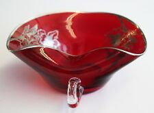 Cranberry glass bowl with silver, hand blown, rare Heart shape...Valentine gift