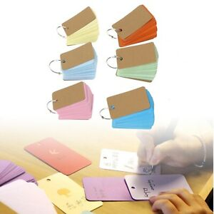 6x Paper Study Revision Cards Flash Note Card with Metal Ring 7x4cm 6 Colors Kit