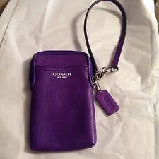 COACH 62808 Legacy Leather Universal Case Wristlet Ultraviolet Purple