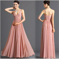 Elegant Women Long Chiffon Dress Evening Party Formal Dress Bridesmaid Gown