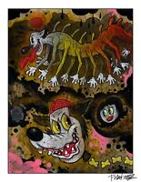 """CENTIPEDE TERRORS 12x18"""" signed print By Frank Forte Pop Surrealism Betty Boop"""
