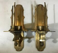 Vtg Pair Candle Wall Church Catholic Sanctuary Brass Bronze Lamp Sconce Holders