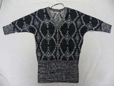 Roxy Woman Overhead Black & White L/S V-Neck Sweater Sz Medium