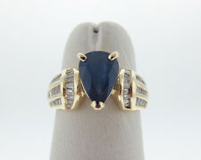 Natural 2.00cts Blue Sapphire Diamonds Solid 14k Yellow Gold Ring FREE Sizing