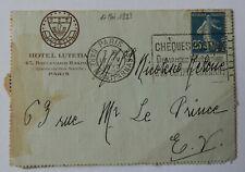 BL / Enveloppe Avec Semeuse 25c Hôtel Lutetia Paris  Dans l'état