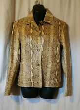Cripple Creek 100% Leather Jacket/Blazer Snakeskin print Womens small Tan/Brown
