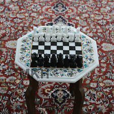 Marble Chess Set Table Inlay Vintage Carved Pieces Antique Board