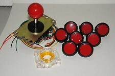 Set of 8 - Arcade Parts Sanwa Mix Black Red Buttons & Red Joystick GT-Y Wire