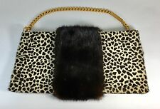 VINTAGE REVILLON PARIS ANIMAL PRINT BAG WITH MINK FUR PANELS GOLD CHAIN HANDLE