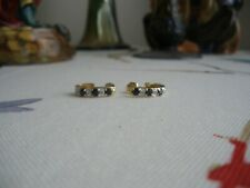 Pretty Estate 10K Yellow Gold Natural Blue Sapphire & Diamond Stud Earrings